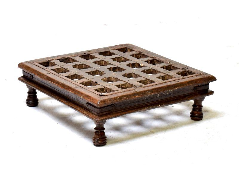 Starý čajový stolek z teakového dřeva, 52x52x16cm