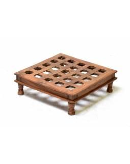Starý čajový stolek z teakového dřeva, 48x48x15cm