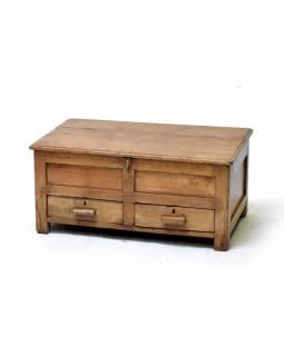 Starý kupecký stolek z teakového dřeva, 77x46x36cm