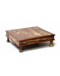 Starý čajový stolek z teakového dřeva, 58x58x20cm