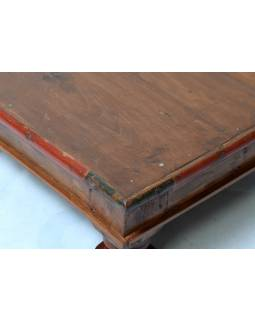 Starý čajový stolek z teakového dřeva, 61x61x22cm