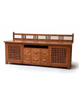 Komoda pod TV z antik teakového dřeva se zábradlím, 170x60x82cm