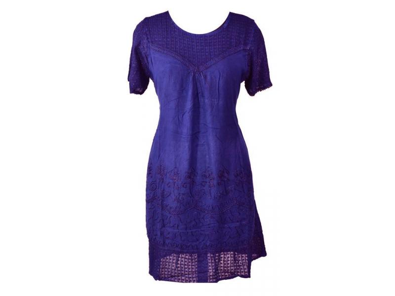 Krátké fialové šaty s rukávkem, krajka, výšivka