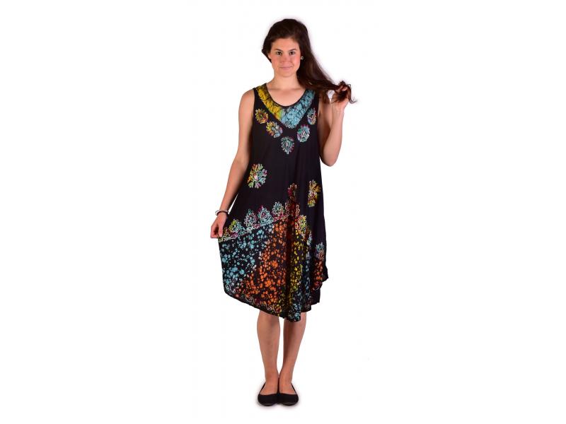 Krátké tyrkysové šaty bez rukávu, potisk, výšivka