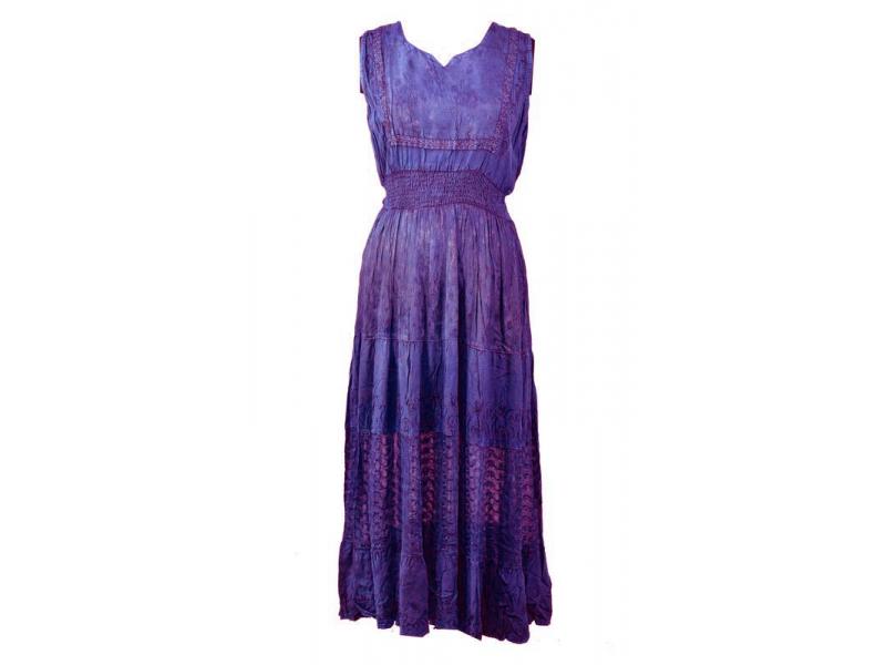 Dlouhé fialové šaty bez rukávu, výšivka, pásek