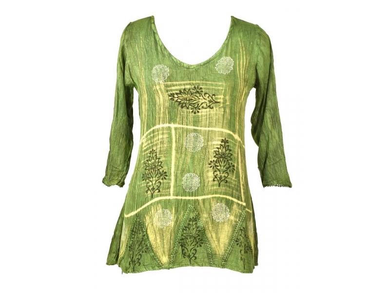 Letní halena s rukávem, výšivka, batika, světle zelená