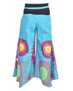 """Tyrkysové zvonové kalhoty s vysokým pasem, """"Mandala design"""""""