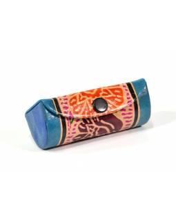 Krabička na rtěnku se zrcátkem, modrá, ručně malovaná kůže, 8x,5x3x2,5cm
