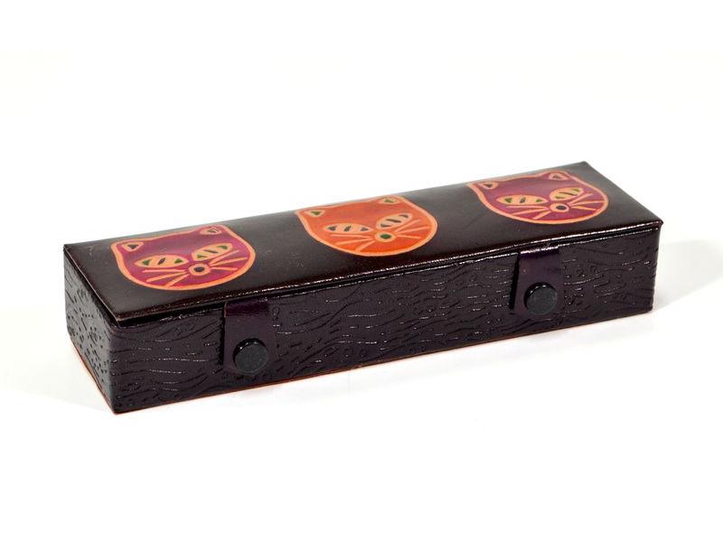 Pouzdro na tužky, vínová, ručně malovaná kůže, 20x6x3cm