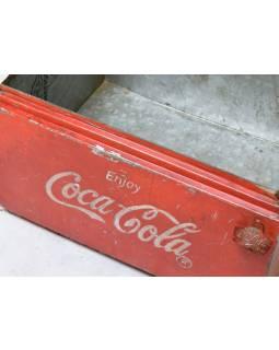 """Plechová lednička """"Coca Cola"""", antik, 57x45x35cm"""