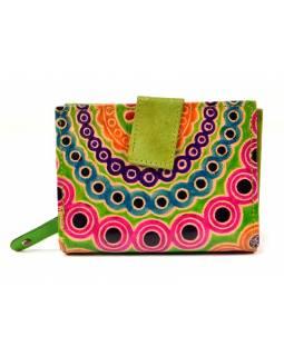 Peněženka, malovaná kůže, mandala design, zelená, 9,5x12,5cm