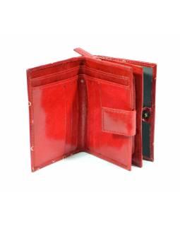Peněženka, malovaná kůže, cat design, červená, 9,5x12,5cm