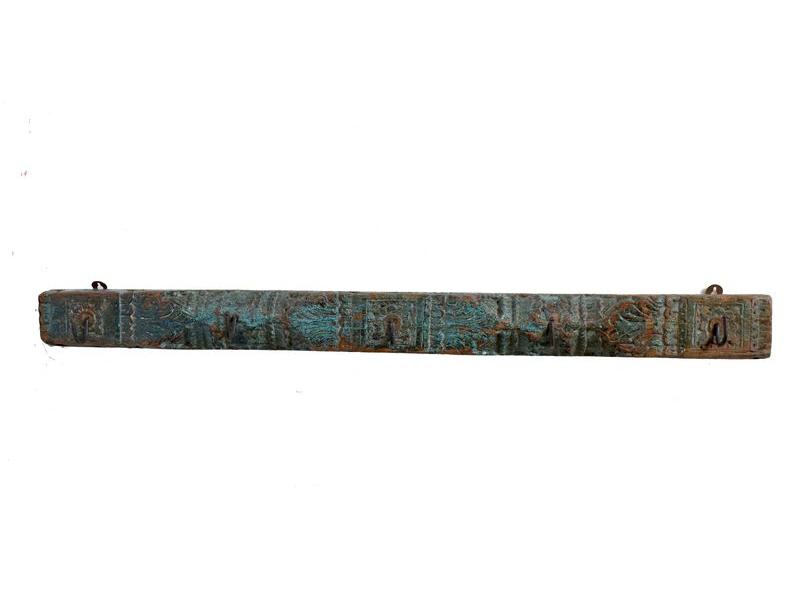 Starý trám s háčky, ručně vyřezávaný, 148x8x10cm