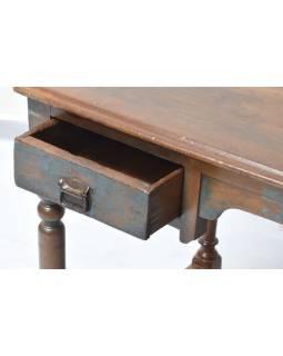Starý psací stůl z teakového dřeva, modrá patina, 106x60x75cm