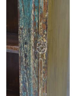 Knihovna z teakového dřeva vyrobená ze starého portálu, 140x55x217cm