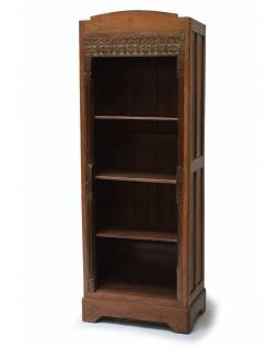 Knihovna z teakového dřeva zdobená starými řezbami, 65x42x183cm