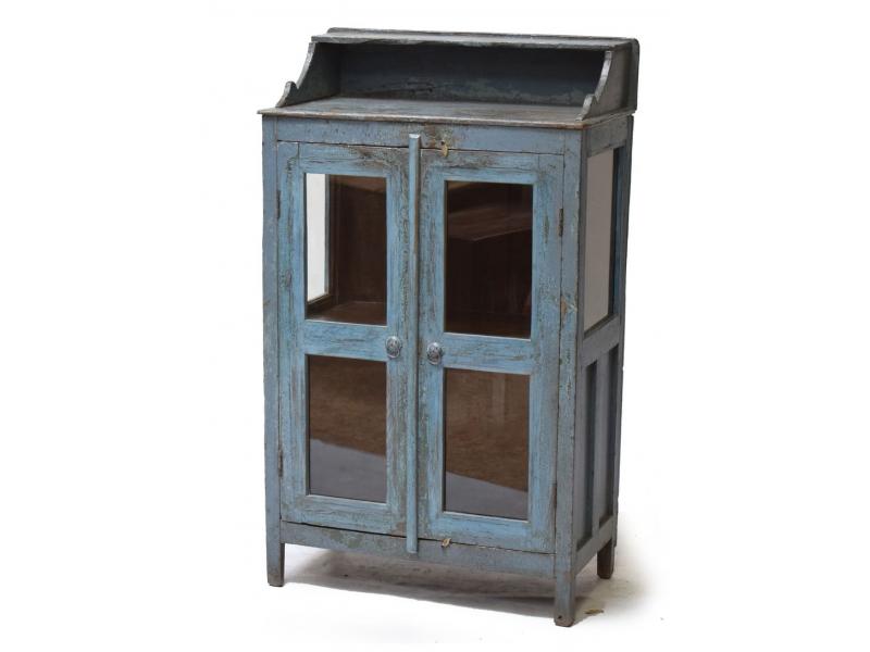 Prosklená skříň z teakového dřeva, modrá patina, 70x37x117cm