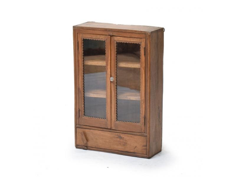 Prosklená skříňka z teakového dřeva, 41x17x62cm