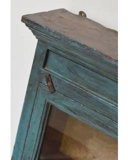 Prosklená skříňka z teakového dřeva, 42x14x76cm