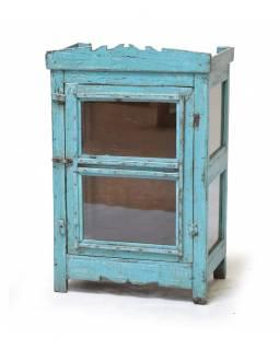 Prosklená skříňka z teakového dřeva, 58x32x86cm