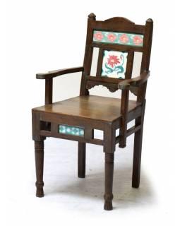 Stará židle z teakového dřeva, zdobená starými dlaždicemi, 53x50x90cm