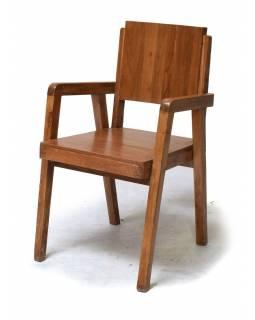 Stará židle z teakového dřeva, zdobená dlaždicemi, 53x50x90cm