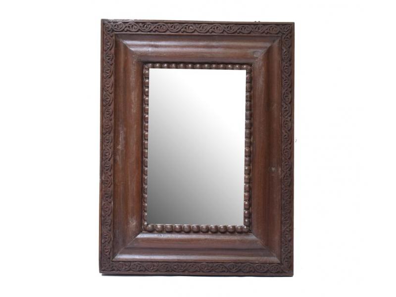 Zrcadlo v rámu z teakového dřeva, ručně vyřezané, 75x100x6cm