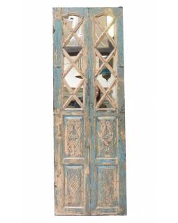 Staré dveře z teakového dřeva se zrcadlem, 62x183x4cm