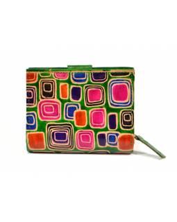Peněženka, malovaná kůže, geometrický design, zelená, 9,5x12,5cm
