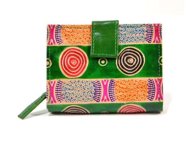 Peněženka, malovaná kůže, zelená, 9,5x12,5cm