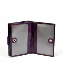 Peněženka, malovaná kůže, elephant design, tmavě fialová, 9,5x12,5cm
