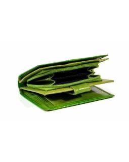 Peněženka, malovaná kůže, elephant design, zelená, 9,5x12,5cm