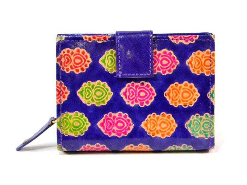 Peněženka, malovaná kůže, paisley design, fialová, 9,5x12,5cm
