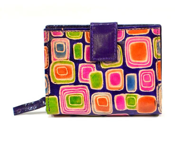 Peněženka, malovaná kůže, geometrický design, fialová, 9,5x12,5cm