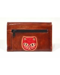 """Peněženka design """"Cat Head"""" malovaná kůže, hnědá 9x14cm"""