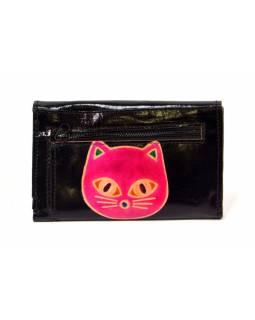 """Peněženka design """"Cat Head""""  malovaná kůže, černá 9x14cm"""