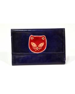 """Peněženka design """"Cat Head"""", malovaná kůže, tmavě modrá 9x14cm"""