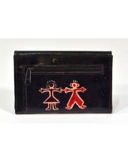 """Peněženka design """"Boy and girl"""", malovaná kůže, černá 9x14cm"""
