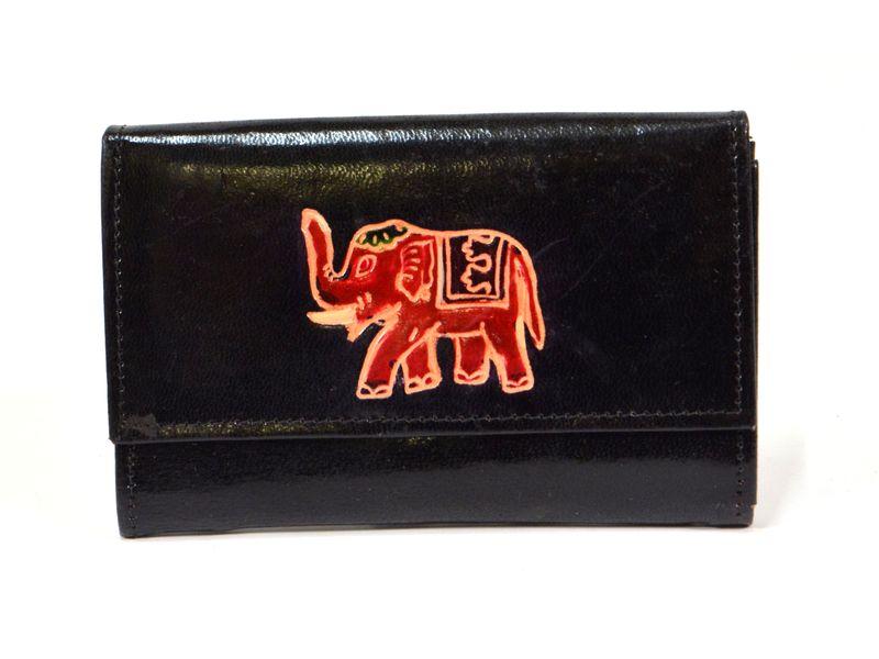 """Peněženka design """"Elephant"""", malovaná kůže, černá 9x14cm"""