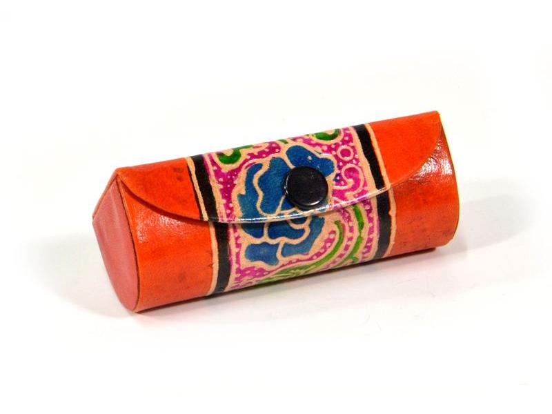 Krabička na rtěnku se zrcátkem, oranžová, ručně malovaná kůže, 8x,5x3x2,5cm