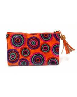 Neceser zapínaný na zip, oranžová, zik zak kolečko, ručně malovaná kůže, 18x11cm
