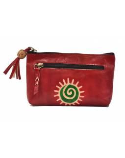 Neceser zapínaný na zip, červená, ručně malovaná kůže, 18x11cm