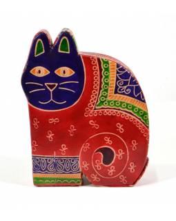 Kasička, malovaná kůže, velká kočka, červená, 13x17,5cm