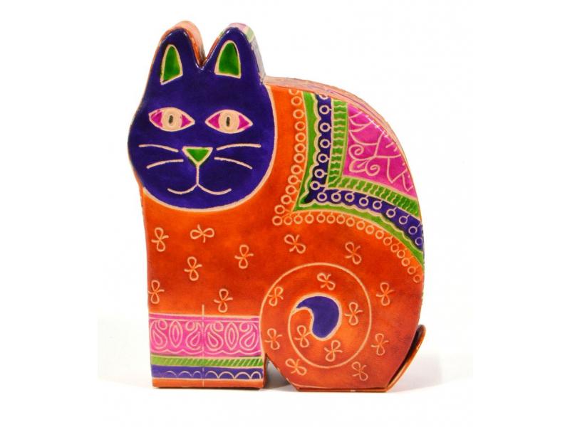 Kasička, malovaná kůže, velká kočka, oranžová, 13x17,5cm