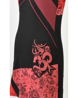 Černo červené šaty s krátkým rukávem, mix potisků, Shiva Óm design