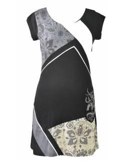 Černo šedé šaty s krátkým rukávem, mix potisků, Shiva Óm design