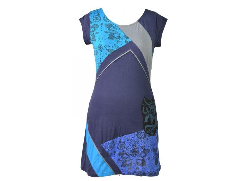 Modro-tyrkysové šaty s krátkým rukávem, mix potisků, Shiva Óm design