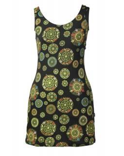 Černo-zelené šaty bez rukávu mandala potisk, barevná výšivka, atypická záda