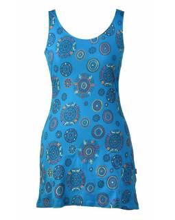 Tyrkysové šaty bez rukávu mandala potisk, barevná výšivka, atypická záda