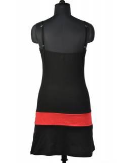 Krátké černé šaty na ramínka s potiskem stromu, Tree design, barevná výšivka